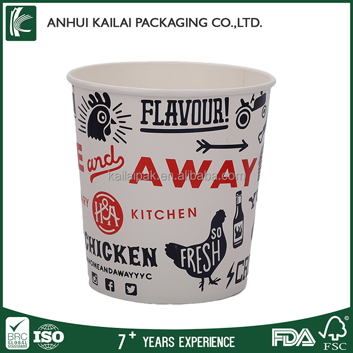 Fast delivery Disposable food packaging container for chicken popcorn paper boxes take away