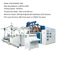 semi-automatic 1500 mm three layer or five layer stretch film plastic extruder machine