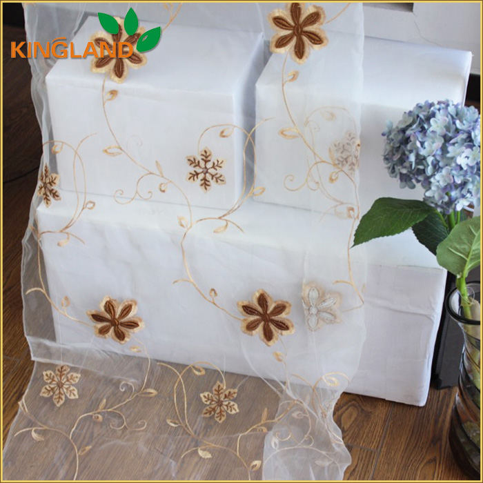 Latest Flower Design 100 polyester organza embroidery draperi window fabric curtain