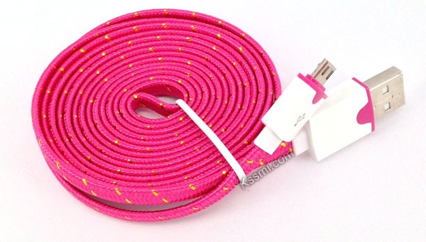 Micro usb flat cable data charging and syncing 3m long extension universal nylon braided charger