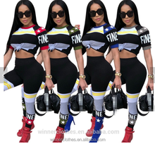 new item Wholesale 2018 women clothing Casual two-piece nightclub women clothing set crop top + pants suit night club wear