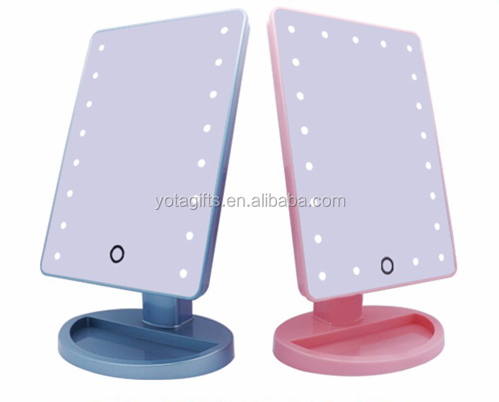 Pink Square shape table standing illuminated cosmetic led light mirror touch sensor switch