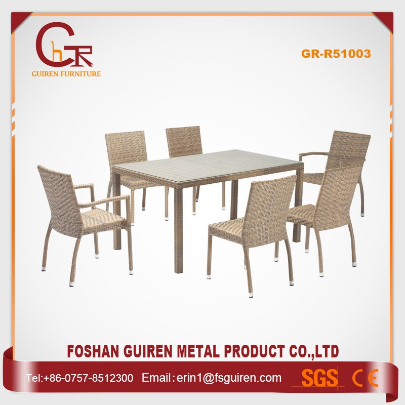 Wholesale philippine marble rattan dining table train set 6 chairs modern