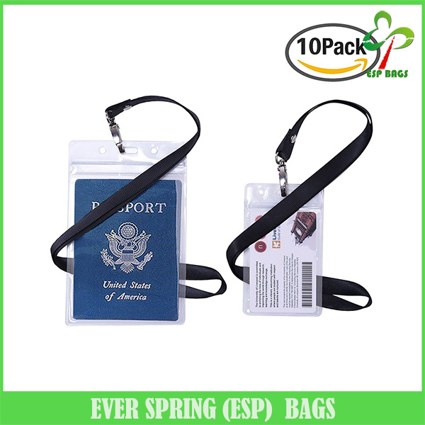 10 Pack wholesale clear pvc badge card holder, lanyard card holders for passport ID card driver's license