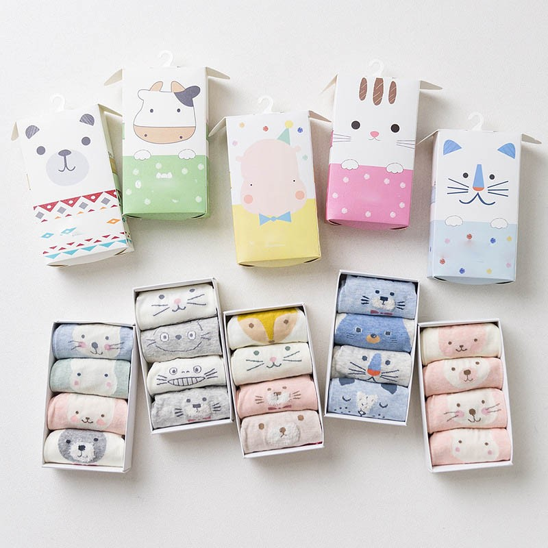 2018 New hot cheap cute 3d animal 4 pairs box set baby socks