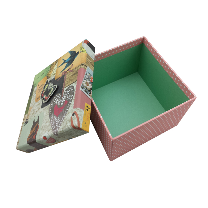 Colorful handmade rigid cardboard square gift boxes for
