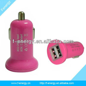 New Arrival Dual USB 2.1A Pink Car Charger for iPad