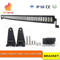 high power auto lighting 50 inch 288w crees curved offroad led light bar for trucks, jeeps