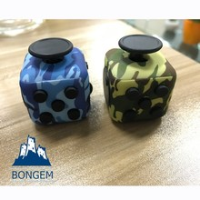 Multi colors camouflage magic smooth fidget cube with silicon button