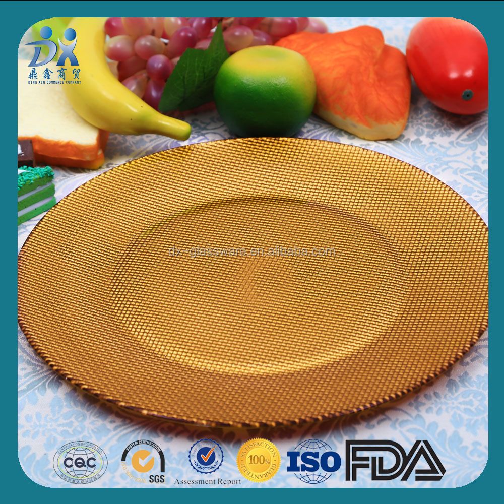 Factory Designed Point Master gold glass charger plates