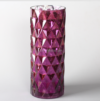 glass purple cylinder vase with big diamond