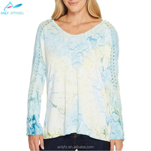 Breathable oem service casual loose tie dyed women's blouse designs crop top