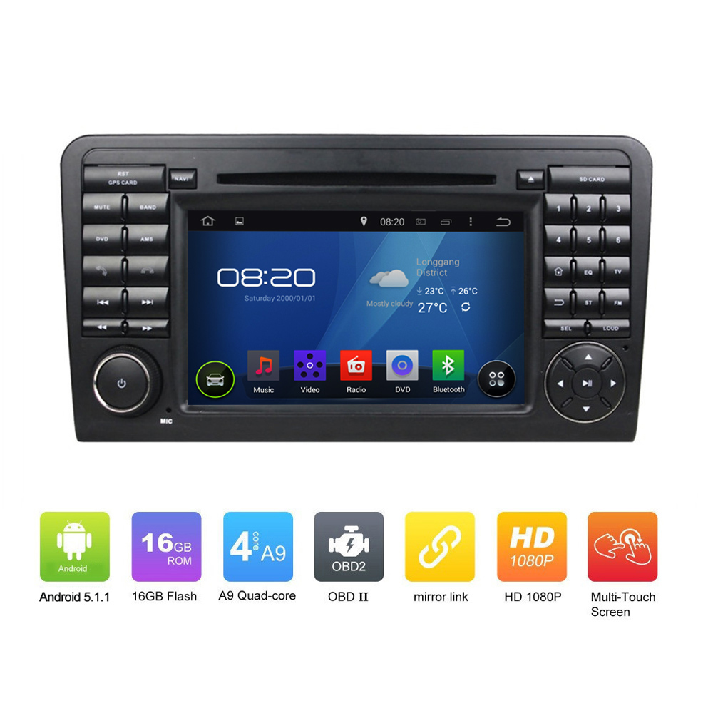 "7"" OEM Pure 2DIN ANDROID 5.1.1 CAR <strong>DVD</strong> <strong>GPS</strong> for ML CLASS <strong>W164</strong> Quad Core 1024*600 Touch Screen Car <strong>GPS</strong> Navgation radio audio"