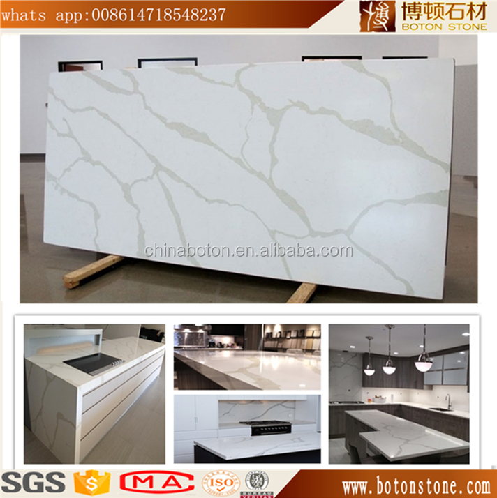 Carrara and Calacatta Marble Color White Veins Grey Quartz Stone,Quartz Slab for Countertop