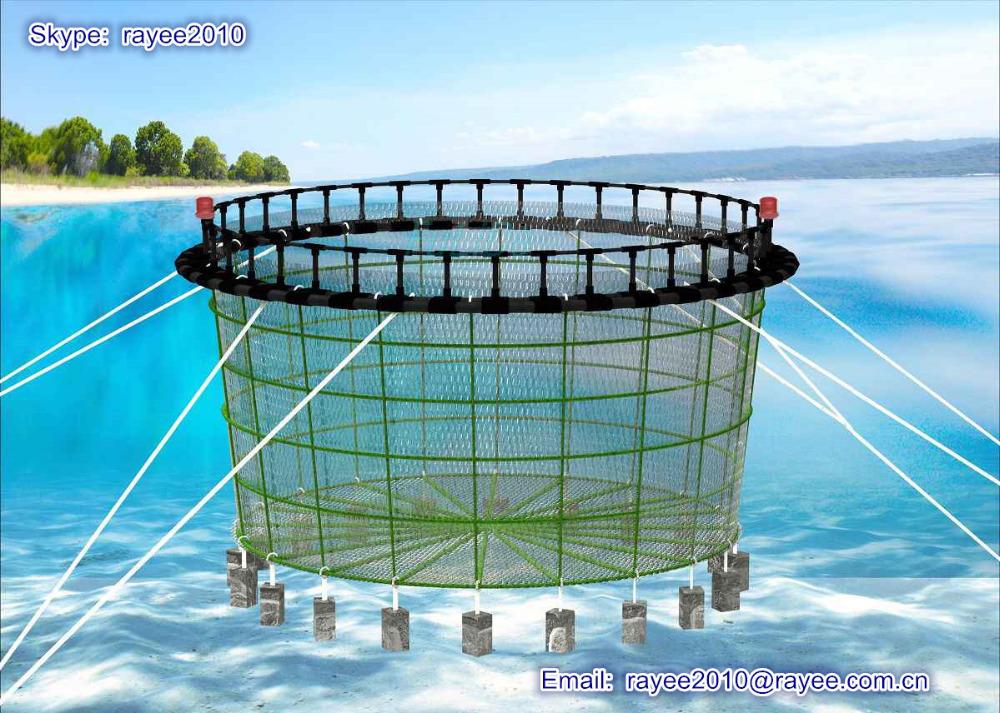 Circle floating aquaculture fish farming cages circulo de for Tipos de estanques para acuicultura
