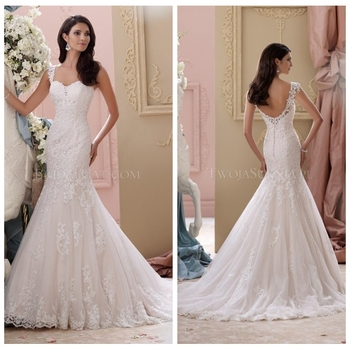 sexy mermaid open back lace wedding dress spaghetti strap