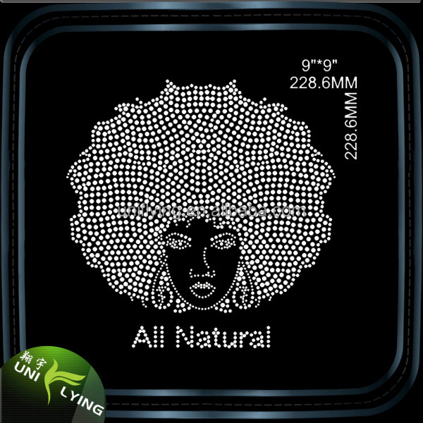 Big afro girl rhinestone heat transfer designs