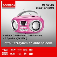 RLBX-15 Pink Cute Mini CD Boombox with USB entertainment Mini FM Radio player for home