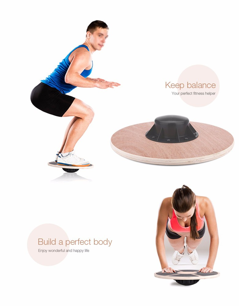 Free Shipping Wooden Exercise Physical Fitness 360 Rotation Balance Board Stability Disc for Foot Leg Yoga Body Training