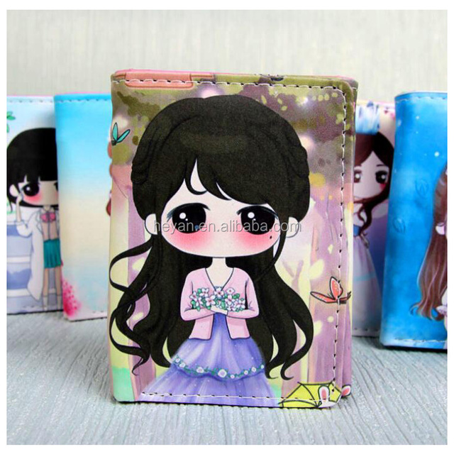 Cute Cartoon Kids Children Students Princess Leather Wallets Purses