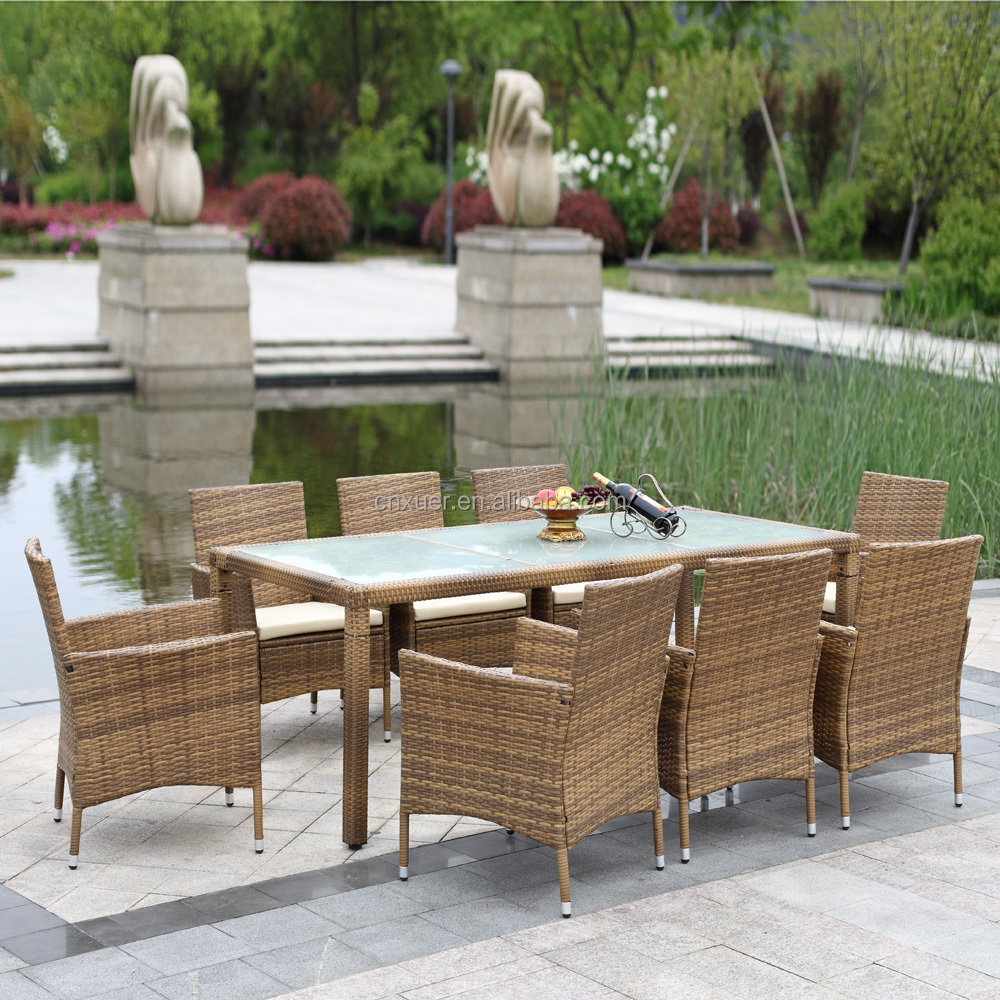 Rattan Outdoor Dinning Table Chair Set Cushioned Garden Patio Furniture Set Tuinmeubelen 9PCS muebles de jardin