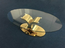 Hot sale modern golden stainless steel legs glass coffee table CT086