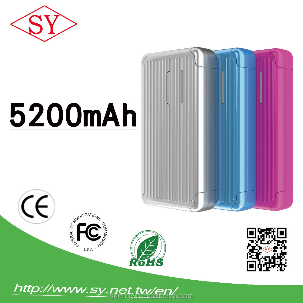 Power bank 5200 mAh smart phone charger dual port uniersal phone charger with Korean battery OEM ODM 5200mah power bank