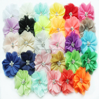 Hot sell colorful Pearl Chiffon Flower Baby Headband rhinestone centers fabric Flower for DIY accessories
