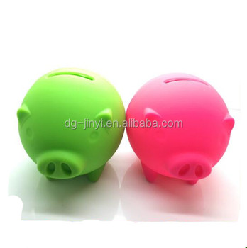 pig shaped silicone money saving box wholesale piggy bank