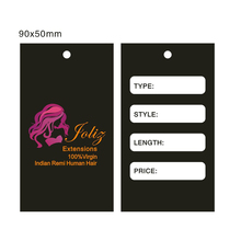 Best quality China manufacturer customized design hang tag for hair/hair extension tags