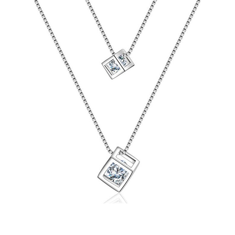 2017 Women Wedding Double Layer Silver Plated Zircon Box Crystal Square Charm Necklace