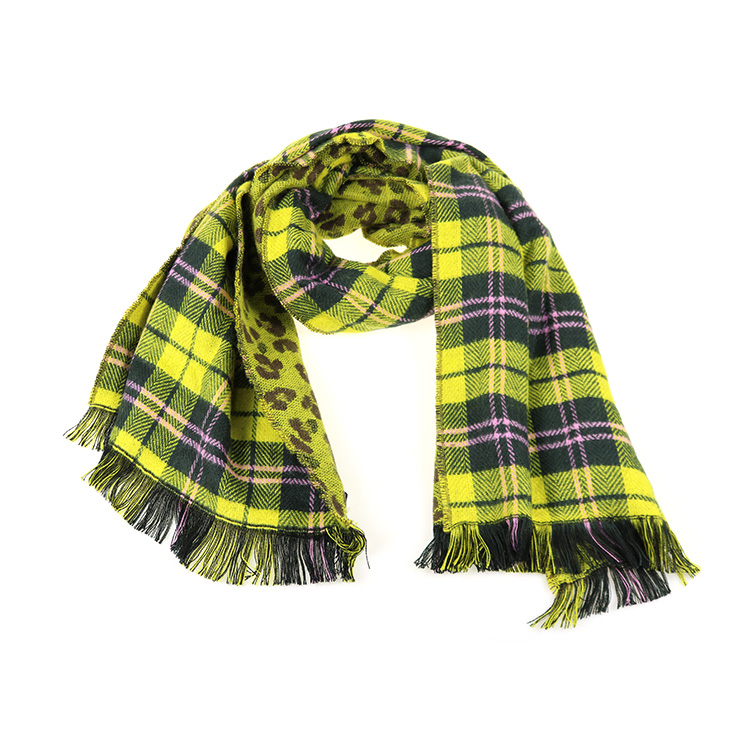 Checkered Design Heavy Brushed Oversized Square Scarf