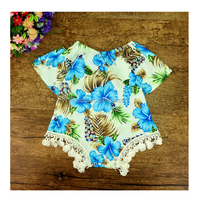 Alibaba Boutique Blue Floral Pint Cotton Short Sleeve Baby Romper
