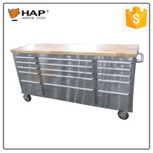 Wooden Workbench Designed Stainless Steel Tool Cabinet