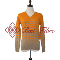 V-neck strip pullover calssical style sweater for women
