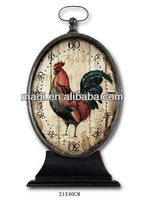 New Style Retro Rooster Metal Desk Stand Clock
