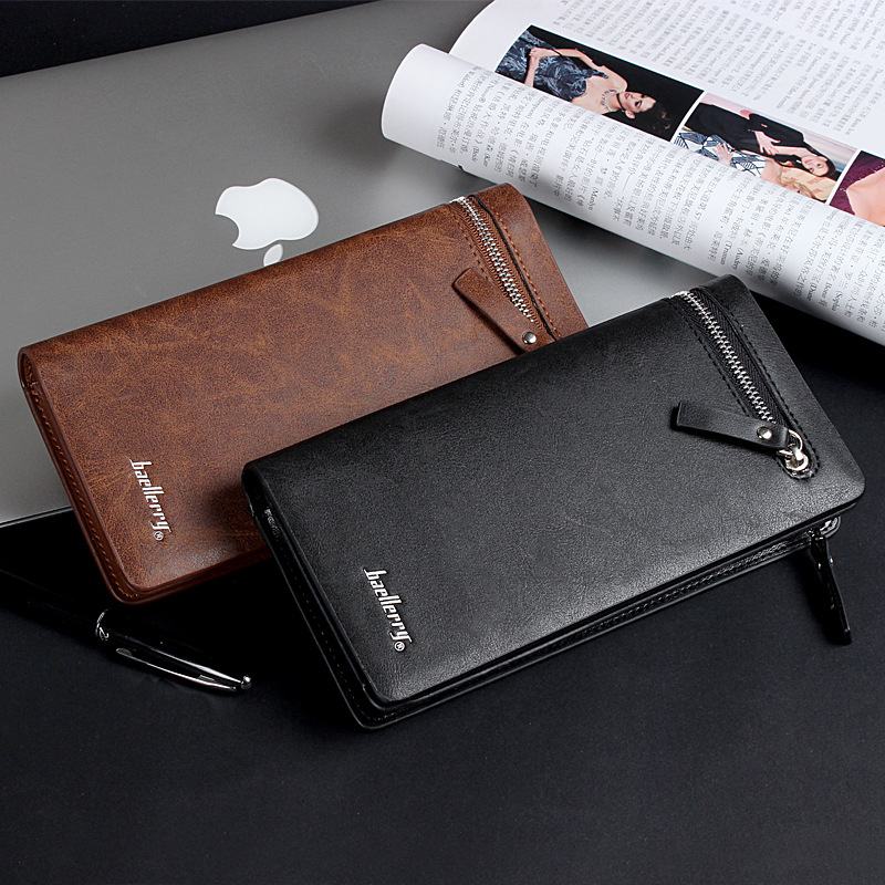 Hot Selling Wallet man long business wallet zipper pu leather mens wallet
