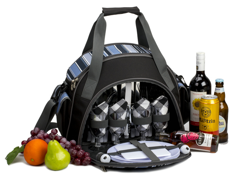 4 Person Picnic Bag with cooler compartment/carrying handle/side pockets/front zip pocket