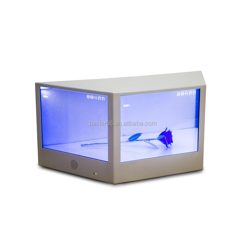 12.1 Inch advertising player box rotating glass LED back light display touch screen transparent showcase