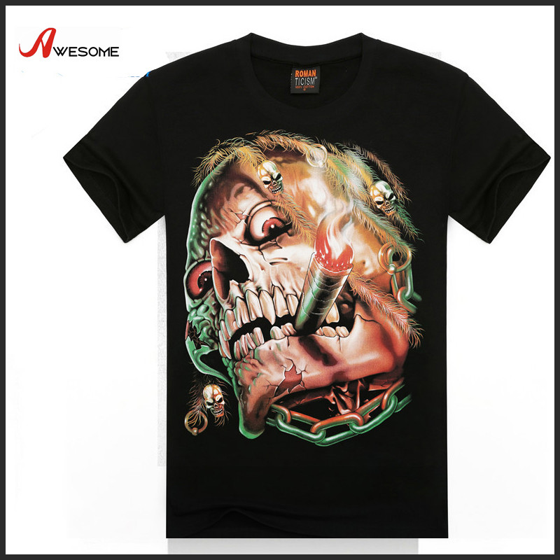 Men short sleeve 3D smoking skull print T shirt