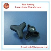39mm black plastic hardware 3 lobe knob for out door furniture