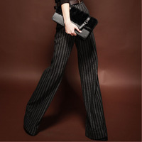 Ladies Vertical Stripe Office Wide Leg Linen Pants Trousers 2014