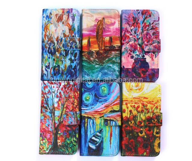 New Product Cute Oil Design Wallet Smart Holster Flip PU Leather Cover Case For Iphone5 5S