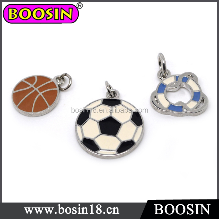 2016 fashion jewelry zinc alloy football charm/sport ball charms/custom metal charms