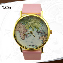 high quality geneva brand cheap price men worldwide map dial quartz movement women wrist watch