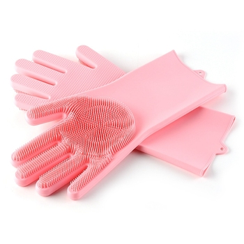 Multi-color silicone rubber dishwashing gloves, oven mitt gloves heat proof mat grip dishwashing gloves scrubber