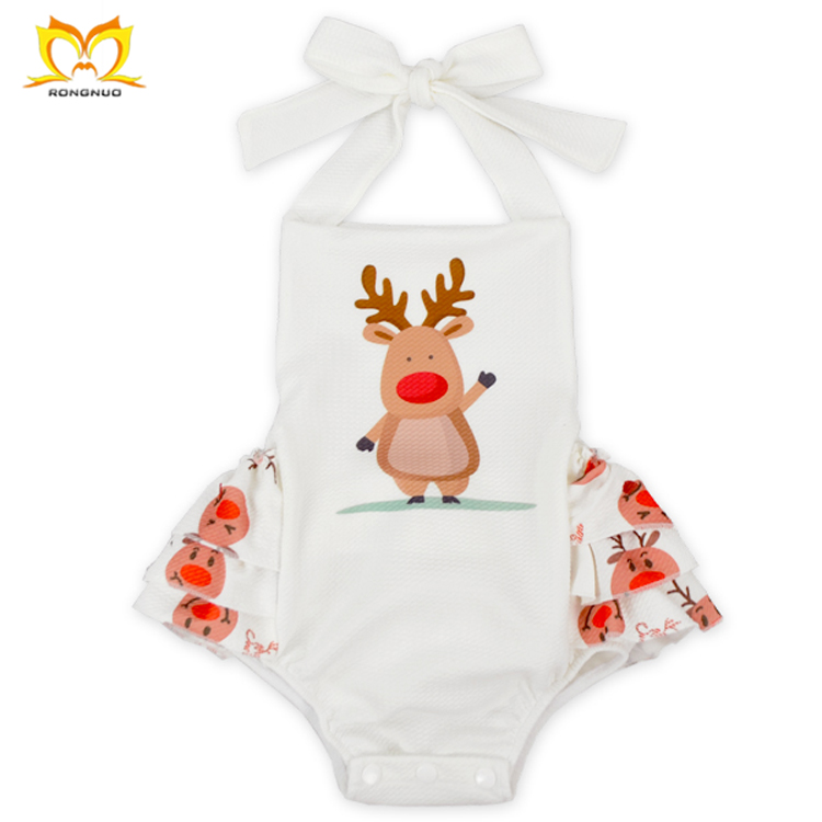Promotional High Quality Santa Claus Ruffle Designer Clothes Sleeceless Baby Rompers