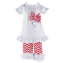 2017 summer style korean kids fashion wholesale baby girls chevron clothing sets with ruffle