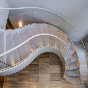 Modern solid wood steps round staircase design / wood curved stairs