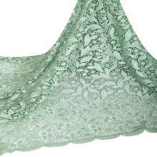 Nigerian lace fashion styles mint green cupion african lace fabric / Modern plain indian lace fabrics for girls dresses